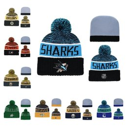 Cool Winter Beanies For Men Australia - St. Heze Sharks Beanie Hat Wool Winter Warm Knitted Caps and Hats Man Women Skullies Cool Beanies for Ice Hockey Fans