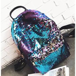 Glitter Pom NZ - LJL Girls Small Sequin Backpack Glitter Bling Rucksack for School Women Shiny Casual Daypack (Blue)