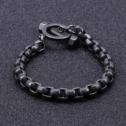 $enCountryForm.capitalKeyWord Australia - 44g New 8.5 INCH 8mm vintage black stainless steel huge Square rolo box chain bracelet cool mens bangle for gifts