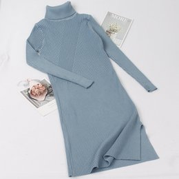 brown sweater dress women NZ - GIGOGOU Turtleneck Women Sweater Dress Mid-Calf Long Autumn Winter Thick Warm Female Dresses Slim Soft Rib Knitted dresses CJ191115