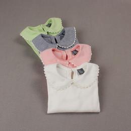 Top Bottom T Shirt Australia - Babies Girls T Shirt Peter Pan Collar Bottoming Shirts Girl Tops Tees Shirts Kids Children's Clothes Girl Blouse Infant Clothing Y19051003