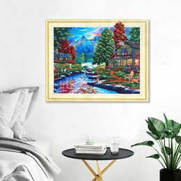 landscapes forests paintings NZ - 5D DIY Drill Special Shaped Diamond Painting Forest Lake Diamond Embroidery Sale Diamond Mosaic Scenic Diamant DP Landscape