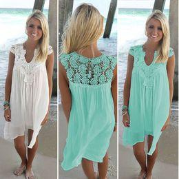 $enCountryForm.capitalKeyWord Australia - Boho Style Women Lace Dress Summer Loose Casual Beach Mini Swing Dress Chiffon Bikini Cover Up Womens Clothing Sun Dress