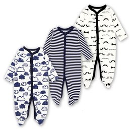 cute baby boy rompers Australia - Newborn Rompers Baby Girls Boy Clothes Long Sleeve Sleepsuit 0-12 Months Cute Cartoon Print Outfits Infant Jumpsuit 3 PiecesMX190912