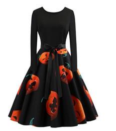 $enCountryForm.capitalKeyWord UK - New women's Halloween dress of 2018 fall season, long sleeve with round neck, printing and large hemline skirt