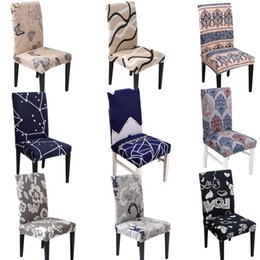 universal banquet chair covers Australia - Flower Printing Chair Covers Spandex Stretch Elastic Slipcovers Universal Removable Chair Cover For Kitchen Dining Room Banquet