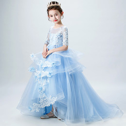 evening straight gown Australia - Children's dress catwalk tail girl princess dress fluffy flower girl piano costume small host evening dress
