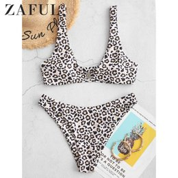 ZAFUL Women Front Closure High Cut Leopard Bikini Swimsuit Scoop Neck Removable Padded Bikini Sets Sexy Swimwear T200509