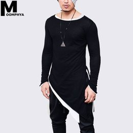 Hip Hop stylisH sHirts online shopping - New Irregular Longline hem long sleeve men t shirt Streetwear hip hop t shirt for men Stylish tshirt tee shirt men