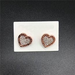 Gift Idea Wholesale Australia - Luxury Women Jewelry MK Earrings Heart Shaped Stud Rose Gold Rhinestone Earrings Letter Dangle Earring Girls Small Gifts Idea 21 Colors