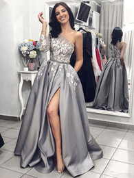 evening gown belt sashes Australia - Custom New Formal Party Belt High Side Split Grey Satin Evening Gown A-Line White Lace Prom Dresses with Pockets One Shoulder Long Sleeves