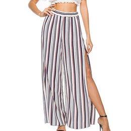 Side Split Trousers Australia - Women Chiffon Stripe Wide Leg Pant High Split Elastic Waist Casual Trouser 2019 New Summer Loose Sexy Side Split Beach