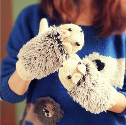 acrylic knitted mittens NZ - Women's Winter Cute Cartoon Hedgehog Gloves Mittens Knit Crochet Mittens Thicken Warm 2018 New Fashion Soft Gloves for women