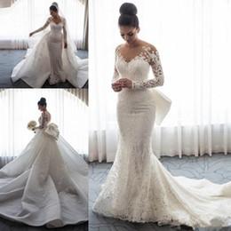 $enCountryForm.capitalKeyWord Australia - 2019 Luxury Sheer Neck Mermaid Wedding Dresses Long Sleeves Illusion Full Lace Applique Bow Overskirts Button Back Chapel Train Bridal Gowns