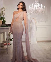 $enCountryForm.capitalKeyWord Australia - Sparkly Sequins One Shoulder Mermaid Evening Dresses Sexy Beautiful Cocktail Pageant Gowns Custom Made Evening Dresses