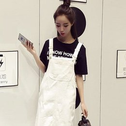 $enCountryForm.capitalKeyWord Australia - Summer fashion Whiter Denim strap dress female student denim dresses Korean ladies loose irregular midi jean dress streetwear