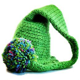 Baby Elf Crochet Australia - Crochet Baby Elf Hat,Handmade Baby Boy Girl Green Stocking Hat with Color Pom Pom,Kids Long Tail Beanie,Infant Newborn Photo Prop