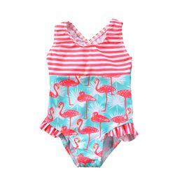 5393170b84 3-7T Kids Swimsuits 2019 Baby Girls Swimwear Ruffles Cute Animal Flamingo  Print Bodysuit Swimming Swimsuit Girls Bathing Suit
