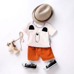 Bear Christmas Suit Australia - 2019 Infant Boys Cotton Outfits Summer Bear Stripe T-shirt Tops + Shorts 2pcs Suits Fashion Cartoon Toddler Clothes Sets Y1635