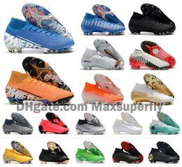 HigH ankle boys sHoes online shopping - 2019 Hot Mercurial Superfly VII Elite FG VI CR7 Ronaldo Neymar NJR Mens Boys High Ankle Soccer Shoes Football Boots Cleats Size