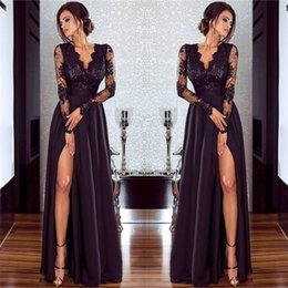 sexy v cut maxi dresses NZ - 2019 New Lace Long-Sleeved Cut-Out Dress With Neckline Evening Dress And High Waisted Slit Sexy Dress