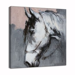 $enCountryForm.capitalKeyWord UK - Handpainted Oil Painting On Canvas Framed Animal Gray Horse Picture Abstract Wall Art Living Room Hallway Wall Decor