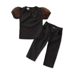 toddler girl jeans shorts UK - 2PCS Children Suit Fashion Toddler Kids Baby Girls Clothing Set Solid Black Short T-shirt Tops + Jean Denim Pants Outfits