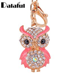 amazing keychains UK - beijia Lovely Enamel Owl Key Chains Rings Holder Amazing Rhinestone Purse Bag Buckle Pendant For Car Keyrings KeyChains K287
