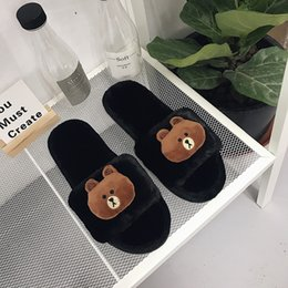 bear dolls Canada - Autumn and winter new fashion suede cartoon doll bear indoor slippers ladies home floor slippers optional match.