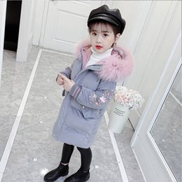 children fur parka 2019 - Fashion Children Winter Down Cotton Jacket Girl Clothing Kids Clothes Warm Thick Parka Fur Collar Hooded Long Coats 3-14