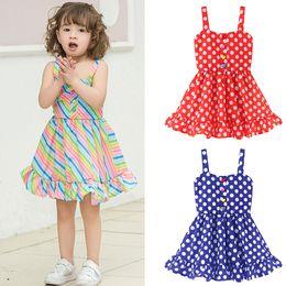 Blue striped children dress online shopping - Children Girls Clothes baby rainbow Stripe Dot Dress kids designer clothes girls suspende dress Summer Sling Beach Dresses C6373