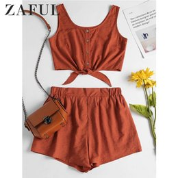 two piece crop top short sets Canada - Zaful Two Piece Women Set Beach Summer Button Up Sleeveless Crop Top And Elastic Waist Shorts Set Casual Women's Suits 2018 Q190521