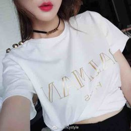 Wholesale Summer new style gold button hot stamping letter T shirt simple fashion cotton short sleeve women summer