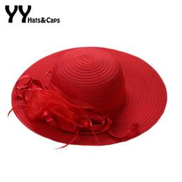 $enCountryForm.capitalKeyWord Australia - Elegant Tea Party Hat for Women Summer Yarn Kentucky Derby Hats Lady Beach Travel Gardening Sun Protection Cap Foldable YY17106