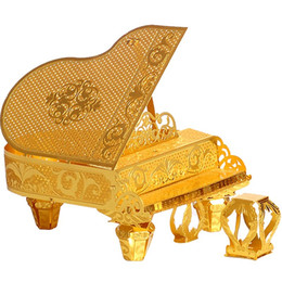 Laser Cutting Gifts UK - Bricks Toys 3D Metal Nano Puzzle Grand Piano Model Kits P024-G DIY Laser Cut Assemble Jigsaw Puzzle for Educational Gifts