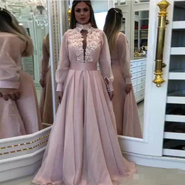 Pink lace maternity dresses online shopping - Modest Dusty Pink Prom Dresses Dubai Long Sleeves High Neck Lace Applique Plunging V Neck Ribbon Custom Made Formal Evening Gowns