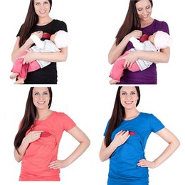 2a458a162692e Pregnant Breastfeeding Tees T-Shirt Maternity Tops Women Splicing Coat  Solid Color Lactation Coat Round Collar Short Sleeve Pullover 57