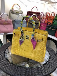 Wholesale christmas woman dresses online – oversize 30CM Fashion Bags Women Totes Shoulder bags With Lock Lady Cowhide Alligator Genuine leather Fashion Handbag