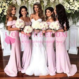 Discount plain satin wedding dress 2019 Elegant Off The Shoulder Pink Bridesmaid Dresses Mermaid Satin Plain Maid Of Honor Wedding Guest Gown For Country W