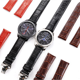 $enCountryForm.capitalKeyWord NZ - 22mm Genuine Crocodile Grain Leather Band Metal Clasp Strap For Samsung Gear S3 Classic Frontier Huami 1 2 Huawei 2 Pro Watch