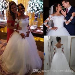 Robe Mariage Plus Size NZ - Vestido De Novia Long Sleeve Princess Wedding Dresses Off Shoulder Tulle Applique Lace robe de mariage Plus Size Bridal Gowns Wedding Dress