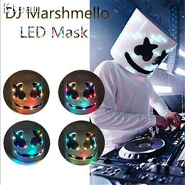 $enCountryForm.capitalKeyWord Australia - Top Grade LED Glowing DJ Marshmello Mask Full Face Cosplay Costume Carnaval Halloween Prop Latex Masks Headdress Accessories