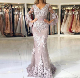 $enCountryForm.capitalKeyWord Australia - 2019 Cheap Mermaid Formal Gowns V Neck Lace Applique With V Back Button Tulle Sweep Train Evening Prom Dresses 2019 Custom Made