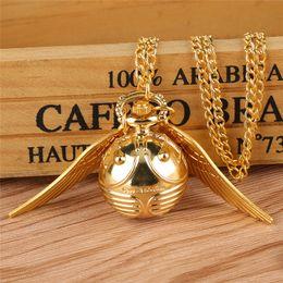 $enCountryForm.capitalKeyWord NZ - Lovely Bronze Golden Small Round Ball WingS Shape Men Women Quartz Analog Pocket Watch Necklace Chain Gift