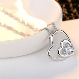 necklaces pendants NZ - Heart Silver Necklace Real Photos Shining Crystal Love Necklaces Women Slides Heart Pendant Locket Clavicle Necklace Jewelry K3524