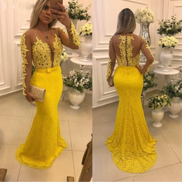 $enCountryForm.capitalKeyWord Australia - Sexy Full Lace Mermaid Prom Dresses Sheer Neck Long Sleeve Appliques Pearls Cocktail Gowns Sweep Train Button Back Prom Dress