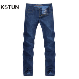 lightweight jeans for summer Canada - KSTUN Jeans for Men Dark Blue Summer Stretch Business Casual Male Straight Classic Trousers High Quality Big Size
