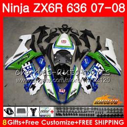 China Body For KAWASAKI NINJA ZX 6R 6 R 600CC ZX-636 ZX636 07 08 34HC.0 ZX600 ZX6R 07 08 ZX 636 600 CC ZX-6R 2007 2008 Fairing kit New blue white cheap pink kawasaki ninja zx6r suppliers