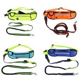 Led Reflective Belts Australia - Unisex Hands Free Elastic Dog Leash Adjustable Padded Waist Reflective Running Jogging Walking Pet Lead Belt With Pouch Bum Bag