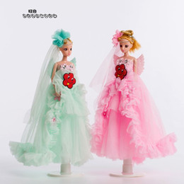 girls doll confused NZ - 35 Centimeter 3d Really Eye Wedding Dress A Doll Originality Birthday Gift Baby Girl Toys Confused A Doll Pendant